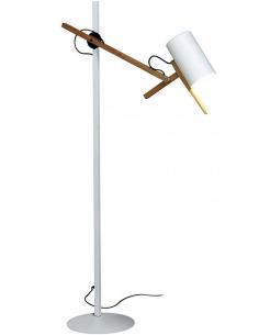 Lampadaire Liseuse Scantling avec double bras articulé en bois par Mathias Hahn - Marset