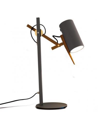 Lampe A Poser Liseuse Scantling Avec Double Bras Articule En Bois