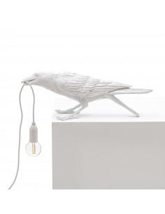 Lampe à poser Bird Lamp Playing en forme d'oiseau en résine blanc par Seletti