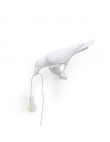 Applique murale Bird Lamp Looking en forme d'oiseau en résine blanc par Seletti