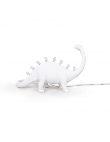 Lampe à poser Jurassic Lamp Bronto en forme de brontosaure en résine blanc par Seletti