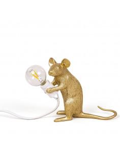 Lampe à poser en forme de souris Mouse assis en résine couleur or par Seletti