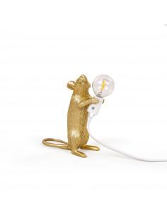 Lampe à poser en forme de souris Mouse debout en résine or par Seletti