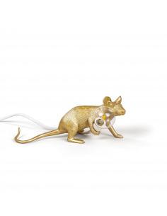 Lampe à poser en forme de souris Mouse couché en résine or par Seletti