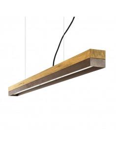 Suspension Design C1o Rectangular 122 cm bois en chêne massif et acier rouillé par Gant light