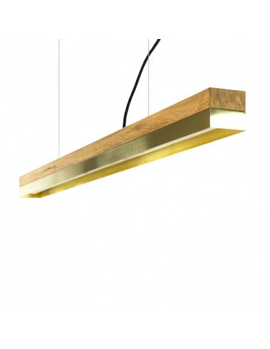 Suspension Design C1o Rectangular 122 cm bois en chêne massif et laiton par Gant Light