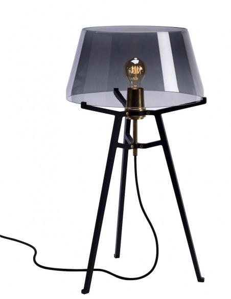 Lampe à poser Ella noir avec abat-jour en verre soufflé par Anton de Groof X Tonone