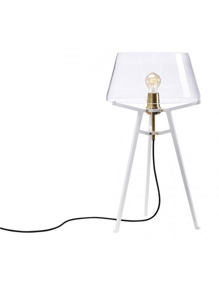 Lampe à poser Ella blanc avec abat-jour en verre soufflé par Anton de Groof X Tonone