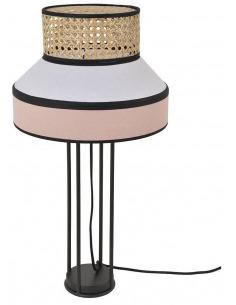 Lampe à poser Singapour Rose / Blanc en cannage & lin Naturel par Market Set