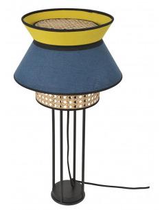 Lampe à poser Singapour Pétrole / Absinthe en cannage & lin Naturel par Market Set