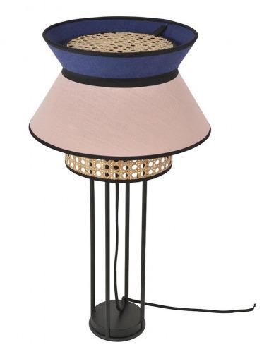 Lampe à poser Singapour Rose / Indigo en cannage & lin Naturel par Market Set