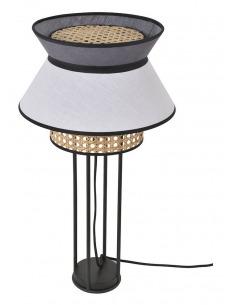 Lampe à poser Singapour Blanc / Anthracite en cannage & lin Naturel par Market Set