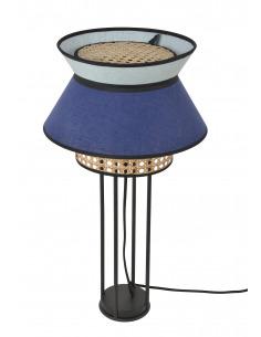 Lampe à poser Singapour Indigo / Amande en cannage & lin Naturel par Market Set