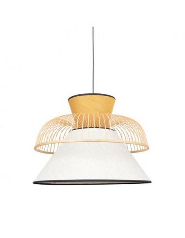 Suspension Mekko GM Blanc / Jaune en lin et couronne en bambou par Market Set