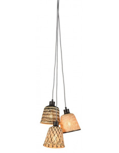 Suspension Kalimantan 3 abat-jours en Bambou naturel au design naturel par Good & Mojo