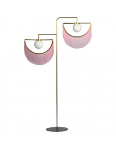 Lampadaire Wink avec franges et structure dorée en demi-cercle au design vintage par Masquespacio X Houtique