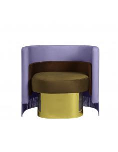Fauteuil Mambo en velours violet avec accoudoirs au design vintage par Masquespacio X Houtique
