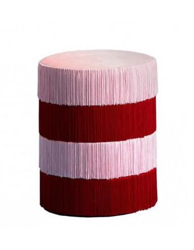 Pouf Chachachá avec franges rouge et rose au design vintage par Masquespacio X Houtique