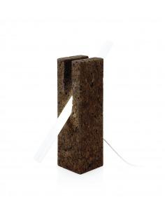 Lampe à poser en liège noir design Bollean tube