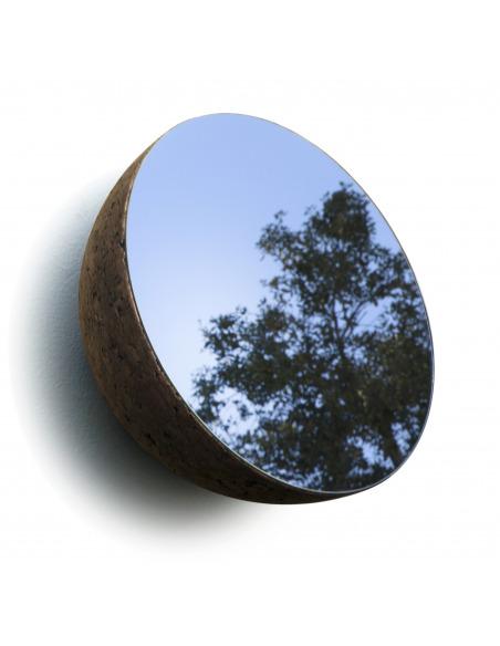 Miroir design Moon 21 cm en liège noir naturel