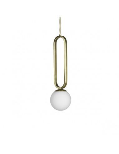 Suspension Cime ø12 cm en acier laitonné et verre soufflé opaline par Eno studio
