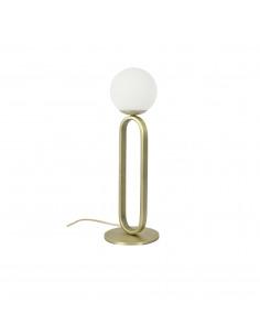 Lampe à poser Cime ø12 cm en acier laitonné et verre soufflé opaline par Eno studio