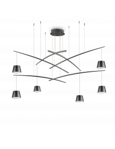 Suspension Flexi 6 lampes réglables en métal pour un design contemporain