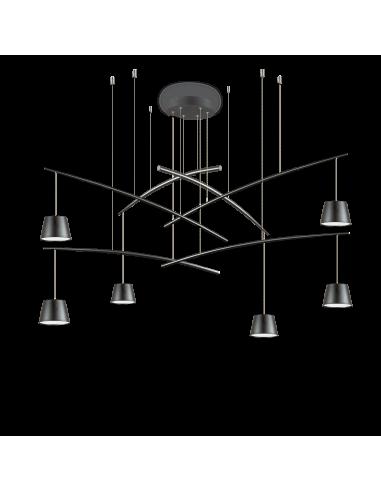 Suspension Flexi 6 lampes réglables en métal pour un design contemporain