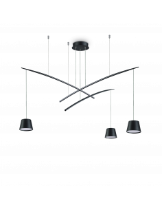 Suspension Flexi 3 lampes réglables en métal pour un design contemporain