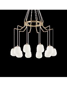 Suspension Champs Elysées 10 lampes avec abat-jour en verre au design chic