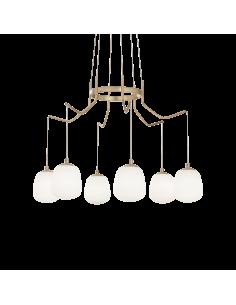Suspension Champs Elysées 6 lampes avec abat-jour en verre au design chic