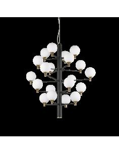 Suspension Republique 20 lampes avec abat-jour en verre au design chic
