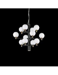 Suspension Republique 12 lampes avec abat-jour en verre au design chic