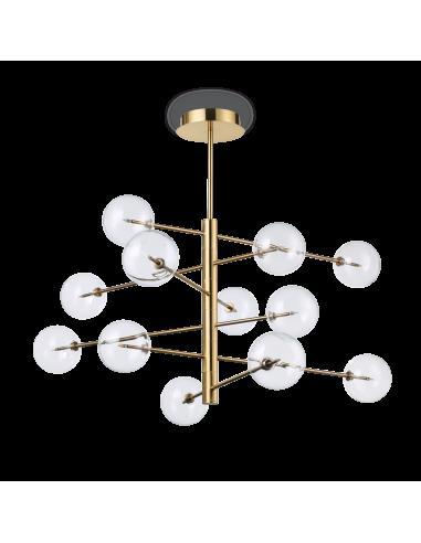 Suspension Splendida 12 lampes avec abat-jour en verre au design chic