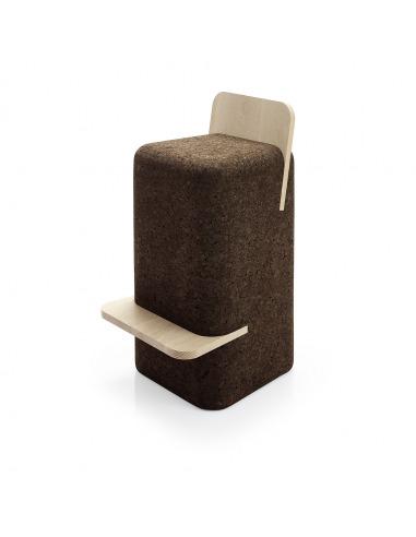 Tabouret haut design original Cut stool en liège noir et bois