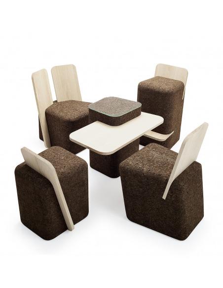 Chaise design original Cut en liège noir et bois