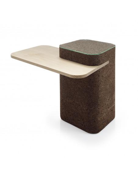 Table design original Cut en liège noir et bois