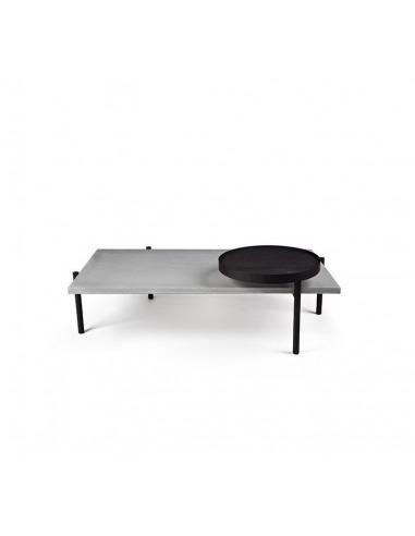 Table basse Twist avec plateau en béton et piètement métal laqué noir au style industriel par Lyon Beton