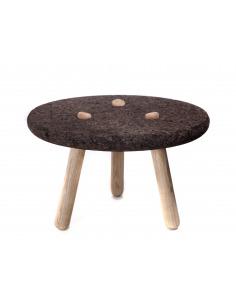 Table basse design ROLHA en liège noir et bois