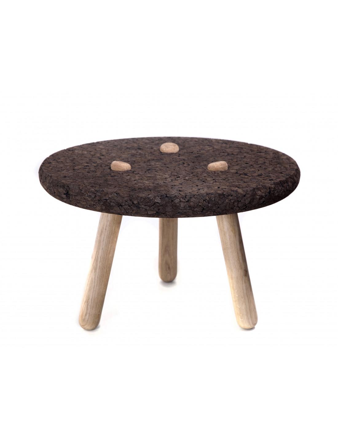 Table basse design rolha en li ge noir et bois otoko - Table basse en bois noir ...