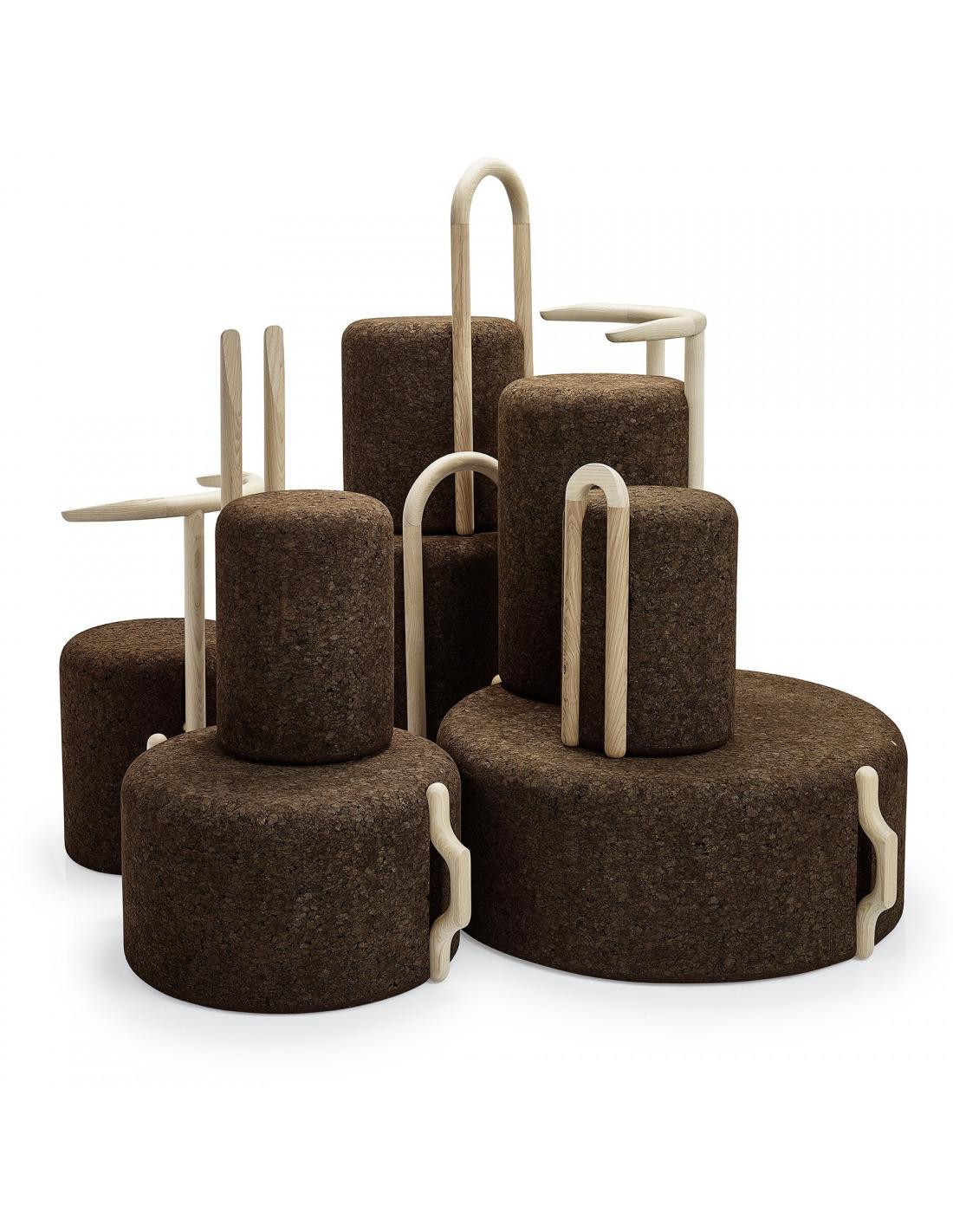 tabouret haut design omega stool high en li ge noir naturel et bois otoko. Black Bedroom Furniture Sets. Home Design Ideas