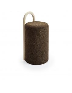 Tabouret haut design Omega Stool en liège noir naturel et bois