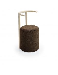 Chaise design Omega 4 en liège noir naturel et bois