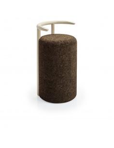 Chaise haute design Omega en liège noir naturel et bois