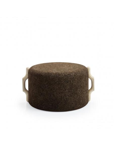 Tabouret design Omega Stool 7 en liège noir naturel et bois