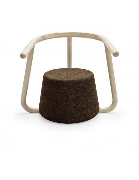 Chaise design Ypsilon en liège noir naturel et bois