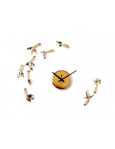 Horloge design poisson Goldfish Gold X CLOCK par Haoshi