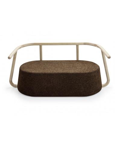Sofa canapé banc design Ypsilon en liège noir naturel et bois