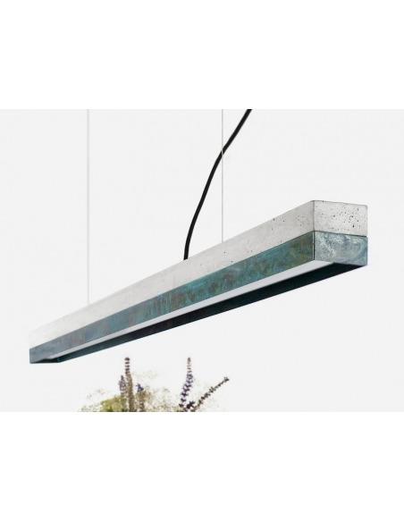 Suspension Design C1 Rectangular 122 cm en cuivre oxydé et béton par Gant Light