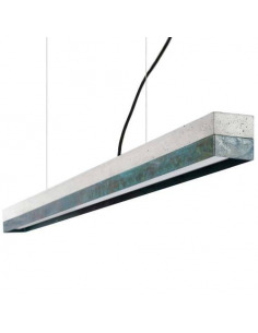 Suspension Design C1 Rectangular 122 cm en cuivre oxydé et béton par Gant Light